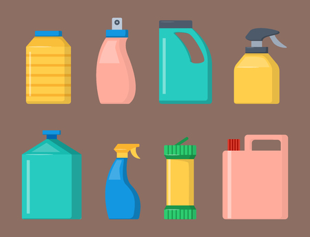 Bottles of household chemicals supplies cleaning housework liquid domestic fluid cleaner pack vector illustration.