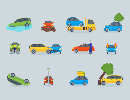 Car crash collision traffic insurance safety automobile emergency disaster and emergency repair transport vector illustration.