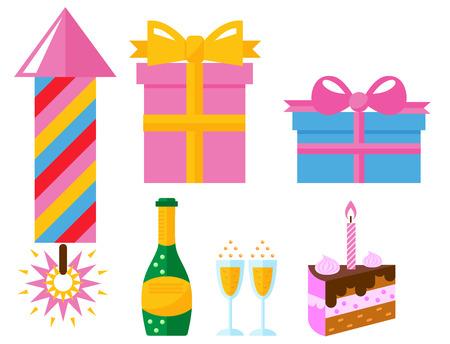 Partij pictogrammen viering gelukkige verjaardag verrassing decoratie evenement verjaardag vector.