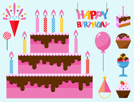 Party icons celebration happy birthday surprise decoration event anniversary vector.