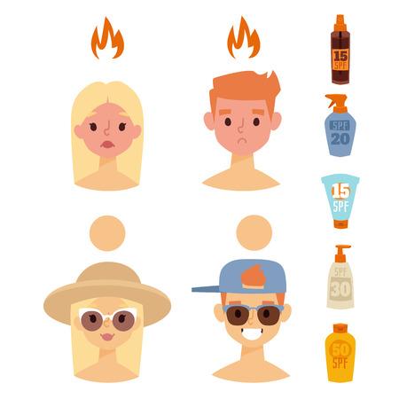 Caractères de plage bronzage été vecteur mode de vie personnes illustration avatars humains homme et femme mignons degré de coups de soleil Banque d'images - 86819251