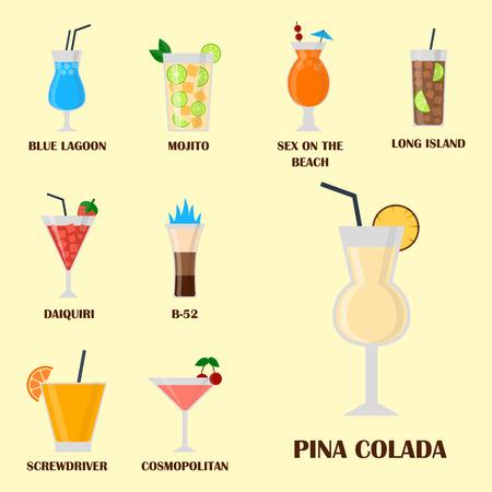 Alcohol drinkt dranken. Stock Illustratie