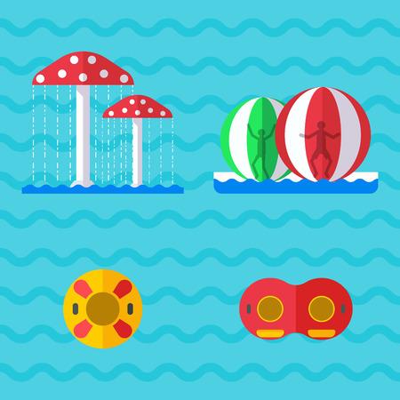 Water amusement playground with slides and splash pads.