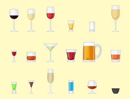 Boissons alcoolisées boissons cocktail bleu boissons alcoolisées différents verres à liqueur illustration vectorielle Banque d'images - 86905355