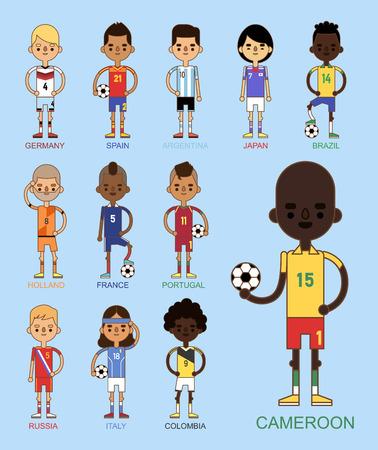 Equipos de fútbol ilustración vectorial y líder del capitán del jugador del juego del mundo en personajes aislados de hombres de deporte uniforme. Foto de archivo - 86905356