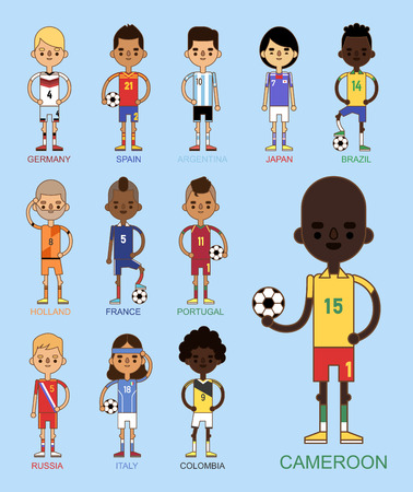 football teams vector illustration and world game player captain leader in uniform sport men isolated characters.