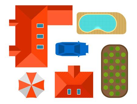 Plan der Draufsicht der Draufsicht der Privathausvektor-Illustration von Hauslandschaftslandhaus-Kartenkonstruktordesign-Bauelementen im Freien. Standard-Bild - 86905359