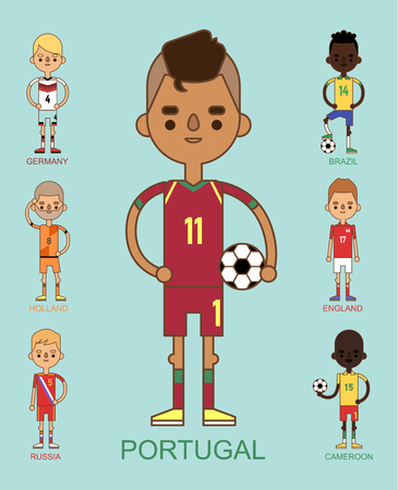 soccer football teams vector illustration and world game player captain leader in uniform sport men isolated characters.