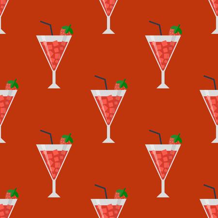 アルコールは飲む飲料カクテル ダイキリ ラガー リフレッシュメント コンテナー シームレス パターン メニュー酔ってコンセプト別メガネ ベクトル  イラスト・ベクター素材