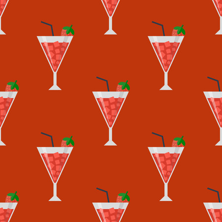 Alcohol drinks beverages cocktail daiquiri lager refreshment container seamless pattern menu drunk concept different glasses vector illustration. Restaurant tequila rum party pub cognac. 向量圖像