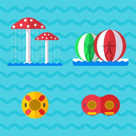 Water amusement aquapark playground with slides and splash pads for family fun vector illustration. Summer leisure and happy child swim fun childhood sport. Illustration