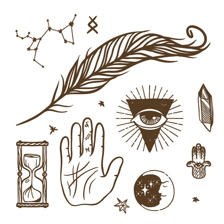 Trendy vector esoteric symbols sketch hand drawn. Religion philosophy spirituality occultism chemistry science magic esoteric symbols. Design tattoo element. Stock Vector - 86819276