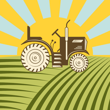 Agricultural vehicle tractor or harvester machine combine plowing mowing, planting and harvesting vector illustration.