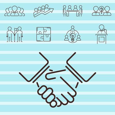 ビジネス チームワーク チーム ビルディング細い線アイコン動作コマンド管理概要人材概念ベクトル図