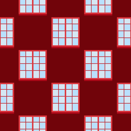 House windows elements flat style glass frames seamless pattern background construction decoration apartment vector illustration.