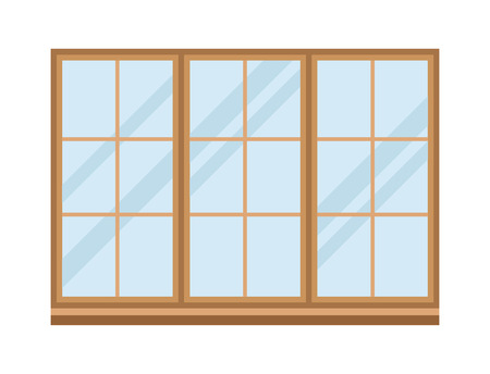 House windows elements flat style glass frames construction decoration apartment vector illustration.