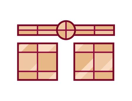 House windows elements flat style glass frames construction decoration apartment vector illustration.