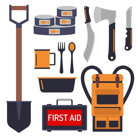 Kit de emergencia de supervivencia para la evacuación de equipos de equipo de artículos herramienta de campamento de viaje excursionismo exploración turismo senderismo desastre Foto de archivo - 86905391