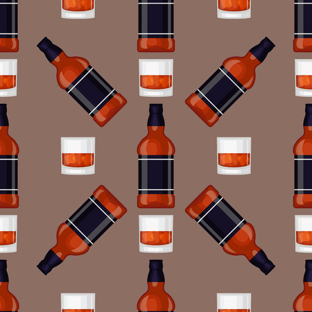 Alcohol drinks beverages cocktail bottle seamless pattern lager container drunk different glasses vector illustration. Иллюстрация