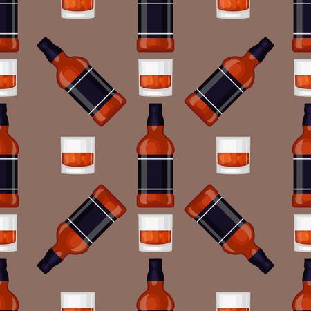 Boissons alcoolisées boissons bouteille cocktail seamless verre juteux blanc différents verres à liqueur vecteur illustration Banque d'images - 86905397