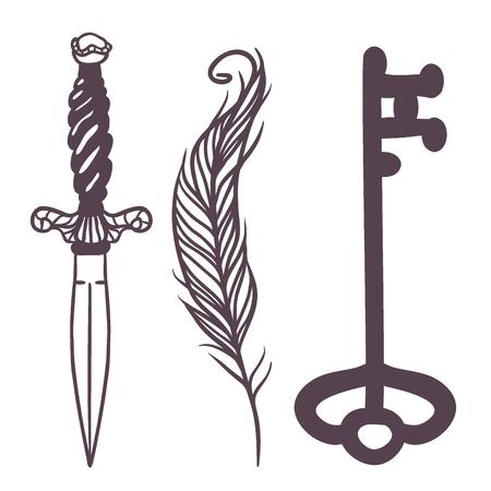 I simboli esoterici di vettore d'avanguardia schizzano l'illustrazione disegnata a mano Archivio Fotografico - 86819283