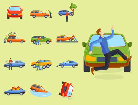 車のクラッシュのトラフィック保険ベクトル イラスト。  イラスト・ベクター素材