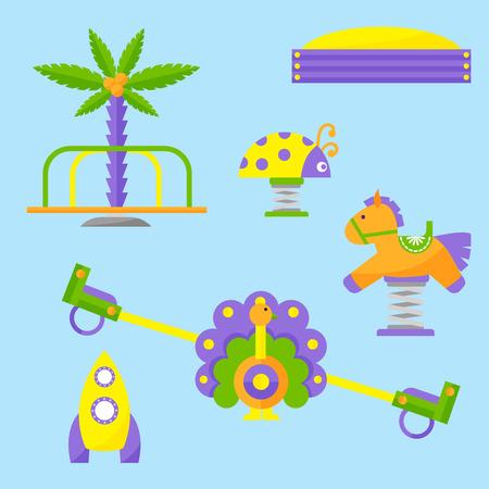 Childrens playground equipment vector illustration Çizim
