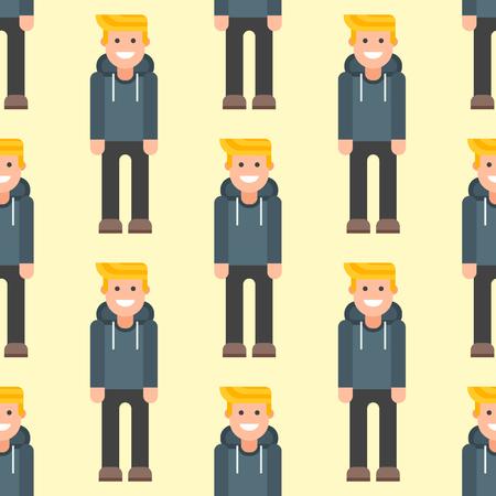 Men portrait seamless pattern. Illustration