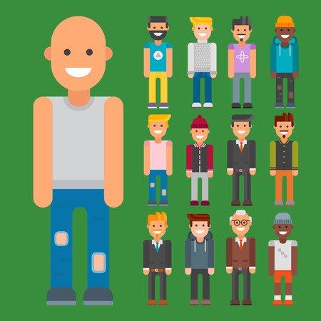 Group of men portrait in different nationalities vector illustration.