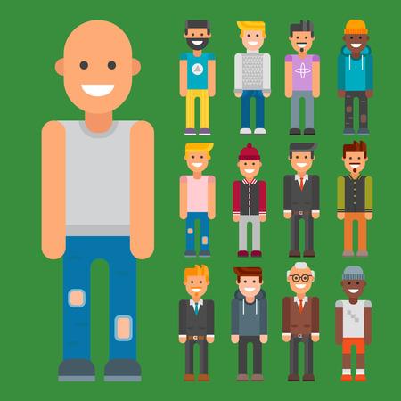 Group of men portrait in different nationalities vector illustration.