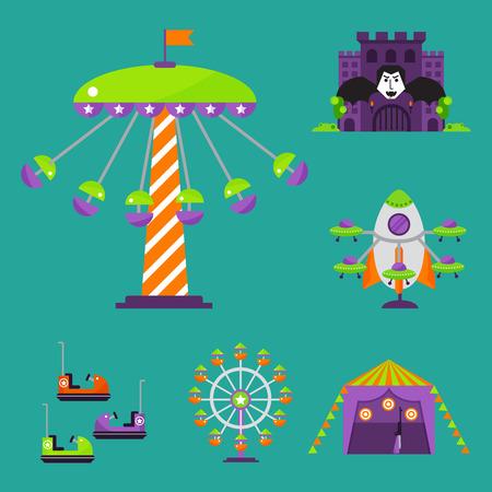 Slides and swings amusement park. Illustration