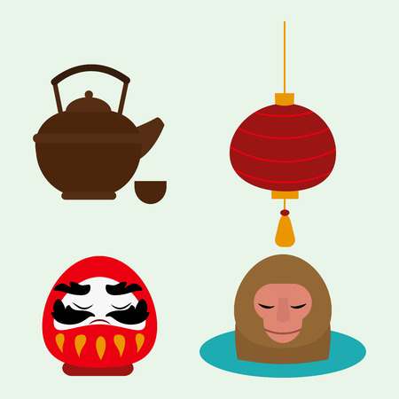 Japan landmark icons collection Illustration