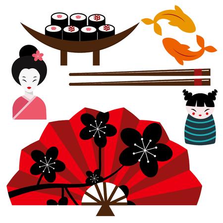 Japan landmark icons collection Illustration