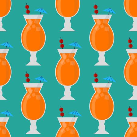 アルコールは飲む飲料カクテル シームレス パターン ラガー コンテナー酔ってダイキリ メガネ ベクトル図です。  イラスト・ベクター素材