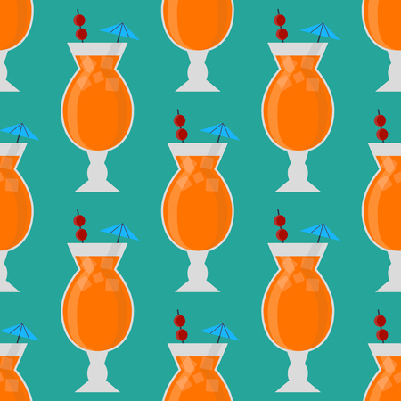 Alcohol drinks beverages cocktail seamless pattern lager container drunk daiquiri glasses vector illustration.