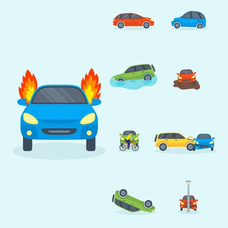 Car crash collision traffic insurance safety vector illustration. Ilustração