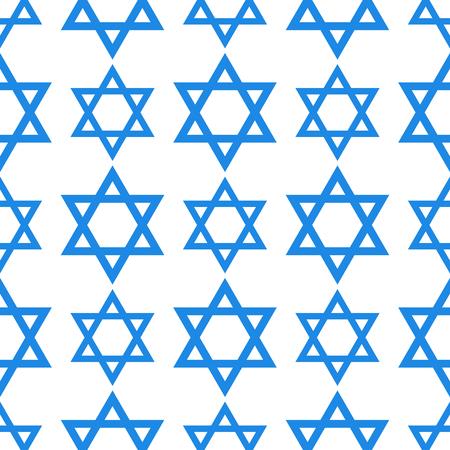 ユダヤ教教会デビッド星の伝統的なシームレス パターン ハヌカ宗教シナゴーグ過越祭ヘブライ語ユダヤ人ベクトル図です。  イラスト・ベクター素材