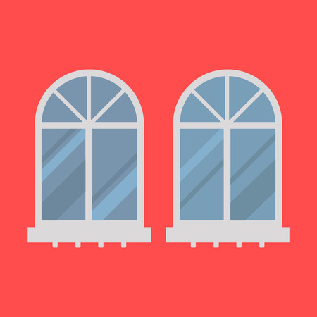 House windows elements flat style glass frames construction decoration apartment vector illustration. Stock Vector - 87242821