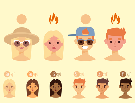 Beach summer suntan characters vector lifestyle people illustration human avatars cute man and woman degree of sunburn.