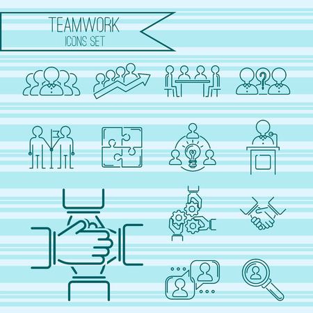 Business teamwork teambuilding thin line icons work command management outline human resources concept vector illustration Ilustracja