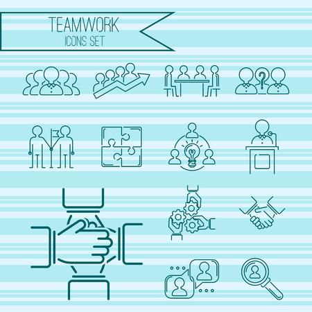 Business teamwork teambuilding thin line icons work command management outline human resources concept vector illustration Иллюстрация