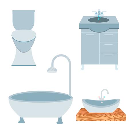 Bath equipment icon toilet bowl bathroom clean flat style illustration hygiene design. Stock Vector - 87242827