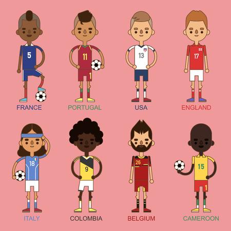 Los equipos nacionales del fútbol de la taza de euro vector el ejemplo y el líder del capitán del jugador del juego del mundo en hombres aislados del deporte aisló caracteres. Foto de archivo - 87242830