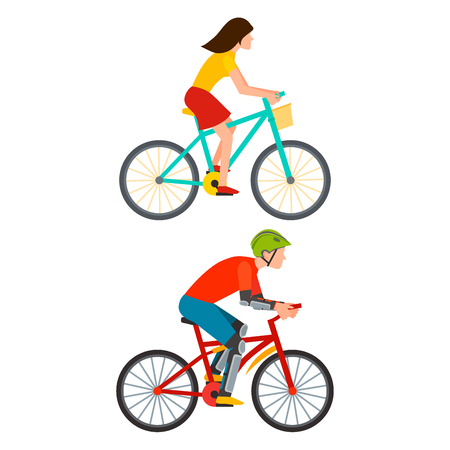 Racing cyclist in action fast road biker from side front view vector illustration.