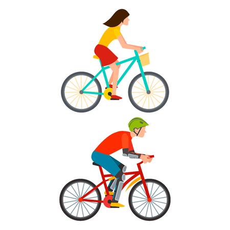 Racing fietser in actie snelle wegfietser van vooraanzicht vector illustratie. Stock Illustratie