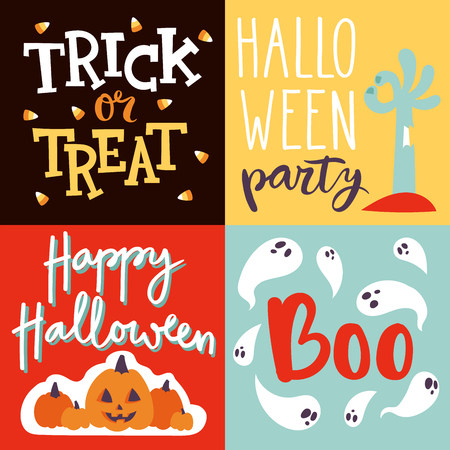 Halloween party celebration invitation cards vector illustration set design