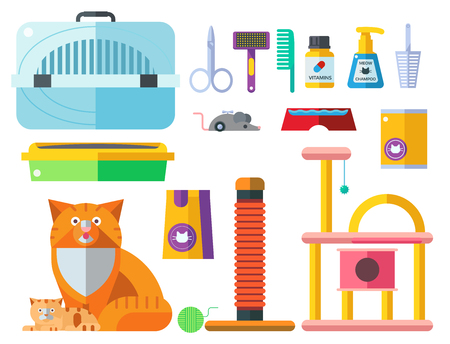 Colorful cat accessory cute vector animal icons pet equipment food domestic feline illustration.