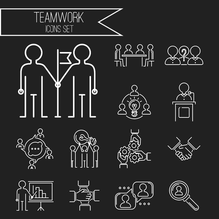 Business teamwork teambuilding thin line icons work command management outline human resources concept vector illustration Stock Photo