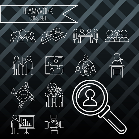 Business teamwork teambuilding thin line icons. Work command management outline human resources sign concept vector. Communication strategy organization.