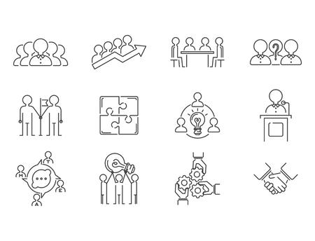 ビジネスチームワークチームビルディング細い線のアイコン。作業コマンド管理アウトライン人事サインコンセプトベクトルコミュニケーション戦
